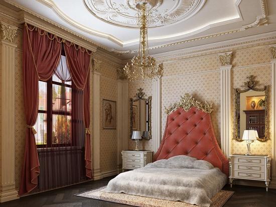 Подвесной потолок с гипсовой лепниной в спальне