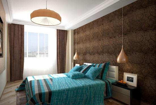 Гармоничное сочетание бирюзового и коричневого цвета в отделке спальни