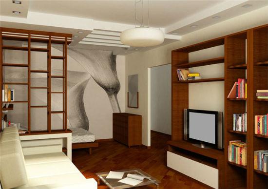 Деревянный стеллаж для зонирования гостиной-спальни