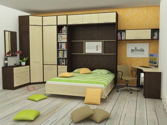 Организация зоны для спальни в комнате при помощи стенки-кровати