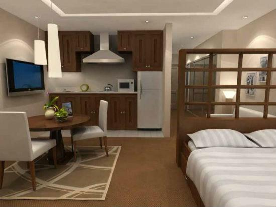 Спальня в квартире-студии с зонирующей перегородкой