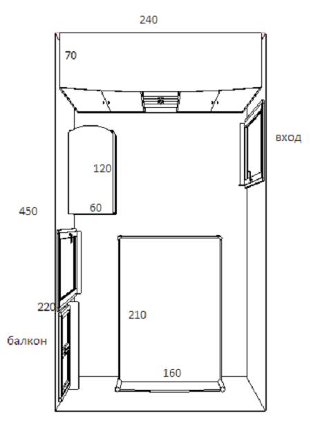 Пример планировки маленькой спальни