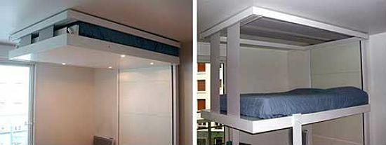Оригинальная кровать с подъемным механизмом для гостиной-спальни