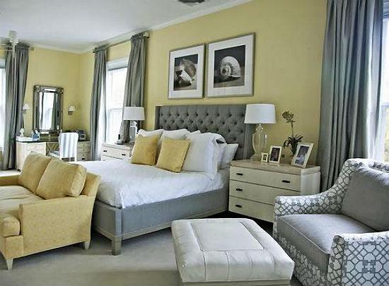 Спокойная серо-желтая гамма в оформлении спальни