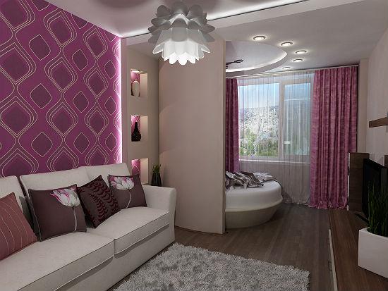Единый стиль в оформлении зон спальни-гостиной