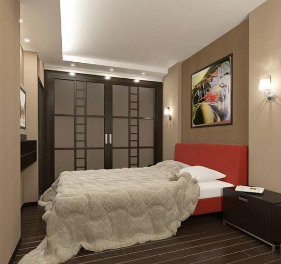 Спальня после ремонта с отделкой пола ламинатом