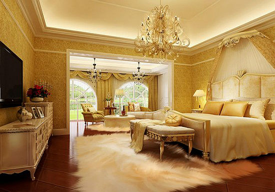 Дворцовые желтые обои в отделке стен классической спальни