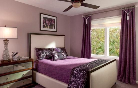 Гамма фиолетовых оттенков в дизайне спальни
