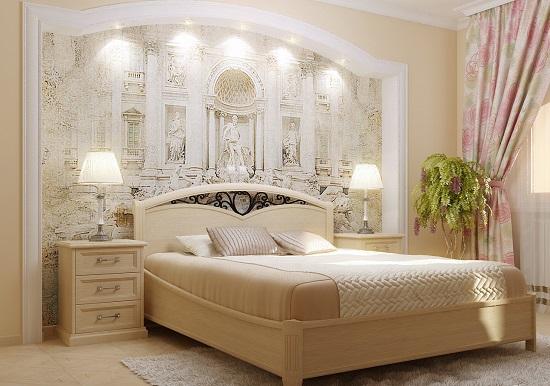 Идея декора стены бежевой спальни фреской