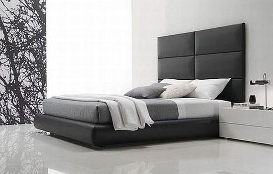 Красивая спальня в стиле хай тек с кроватью с изголовьем из кожи