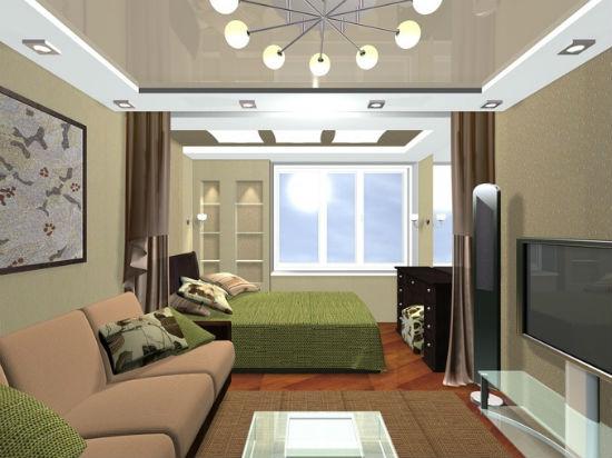 Шторы и разный дизайн в оформлении потолка в зонировании спальни-гостиной