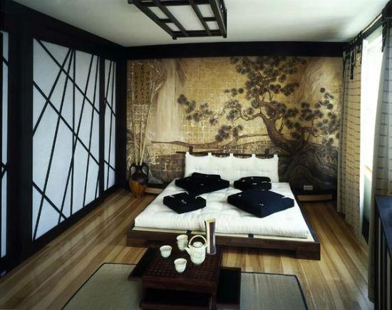 Низкая мебель из ЛДСП для спальни в японском стиле