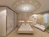 Конструкция из гипсокартона на потолке спальни