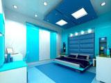 Сочетание синего и голубого цвета в оформлении спальни