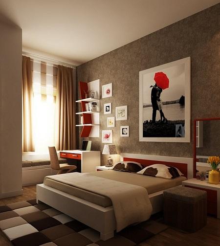 Яркие желто-красные акцентные элементы декора в бежевой спальне