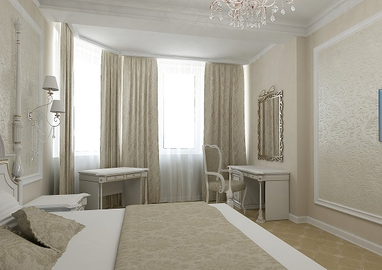 Сочетание бежевого и белого цвета в интерьере спальни