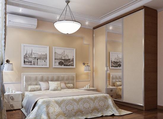 Бежевая отделка стен и шкафа-купе в спальне