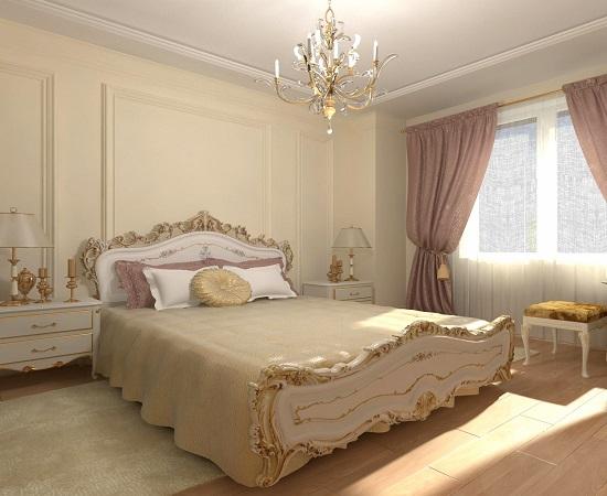 Спальня классического стиля с бежевой отделкой стен