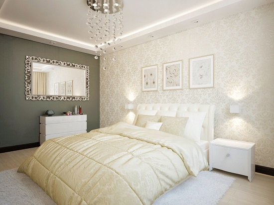 Комбинирование серого и бежевого цвета в декорировании спальни