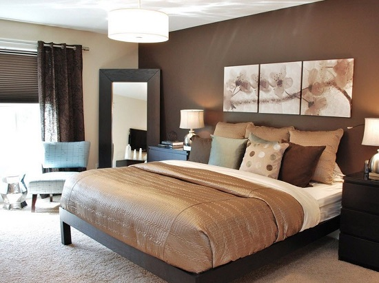 Отделка спальни в бежево-коричневых тонах