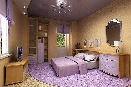 Пример комбинирования фиолетового и бежевого цвета в оформлении спальни