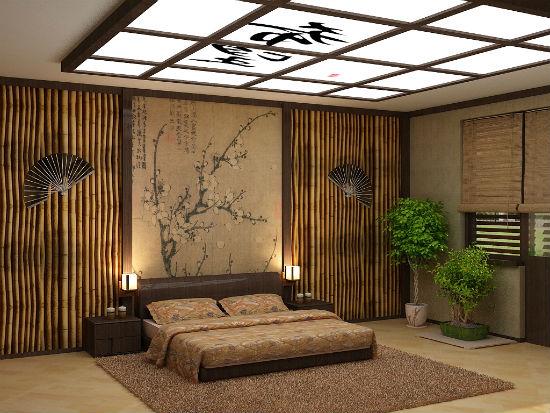 Отделка стен бамбуком в азиатском интерьере спальни
