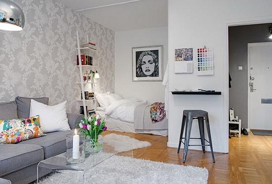 Расположение кровати в нише для гостиной спальни