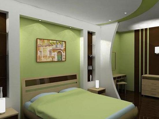 Зонирование спальни при помощи перегородки из гипсокартона