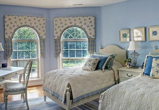 Голубая спальня в морском стиле