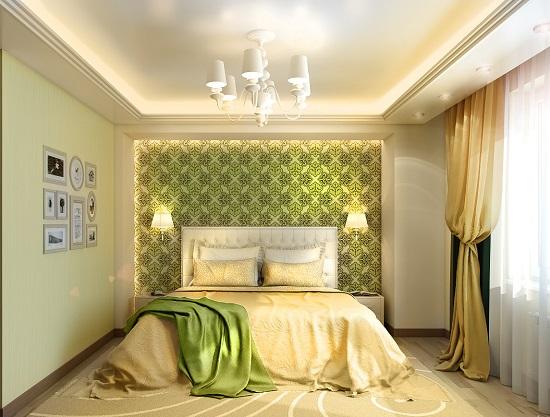 Светлая спальня в эко стиле с бежево-зеленой отделкой