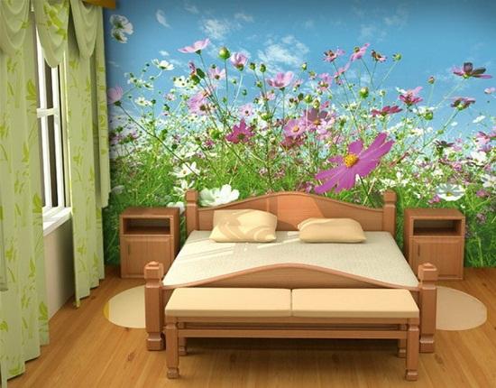 Использование в дизайне спальни фотообоев растительной тематики