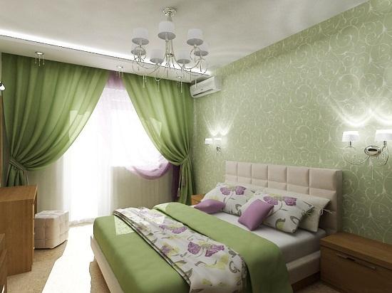 Зеленый цвет текстиля и отделки стен в спальне