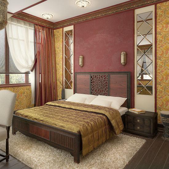 Интерьер спальни в колониальном стиле