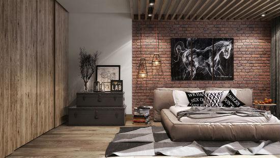 Кирпичная кладка в интерьере спальни стиля лофт