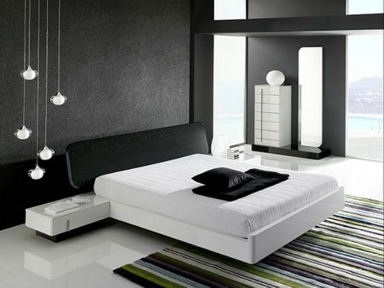 Черно-белая спальня с интерьером в стиле минимализм