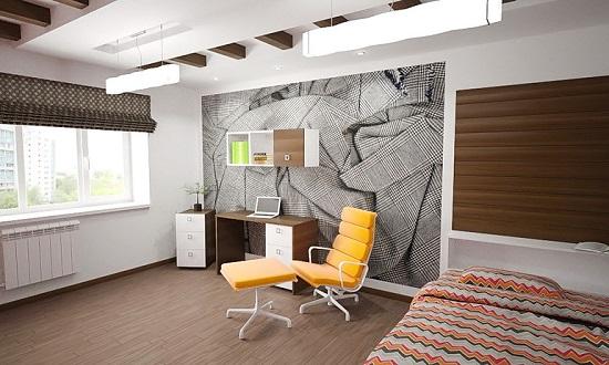 Небольшой рабочий стол в дизайне спальни кабинета стиля минимализм