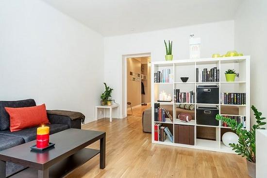 Ограждение спальной зоны при помощи стеллажа в гостиной