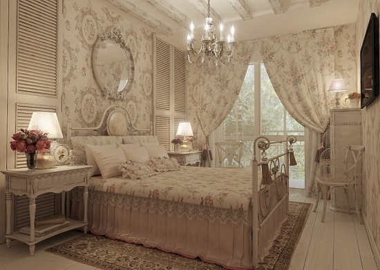 Бежевая спальня в стиле французский прованс