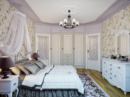 Белый комод с зеркалом для спальни прованс