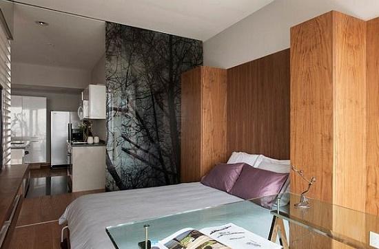 Раздвижная перегородка для зонирование спальни гостиной
