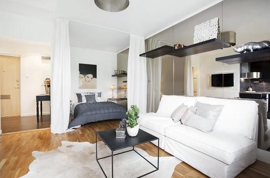 Пример расстановки мебели в спальне гостиной
