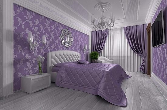 Классическая спальня в серо-сиреневых тонах