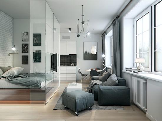 Стеклянная перегородка для разделения спальни гостиной на зоны
