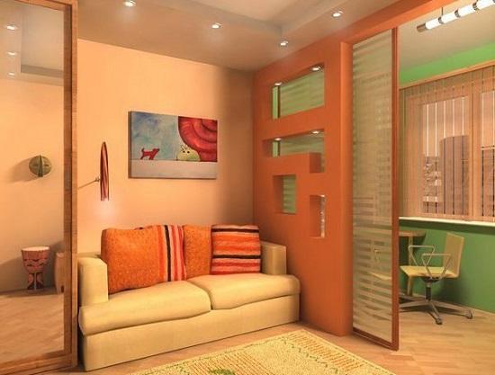 Зонирующая перегородка в дизайне спальни кабинета