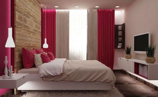 Сочетание коричневого и розового цвета в создании интерьера спальни