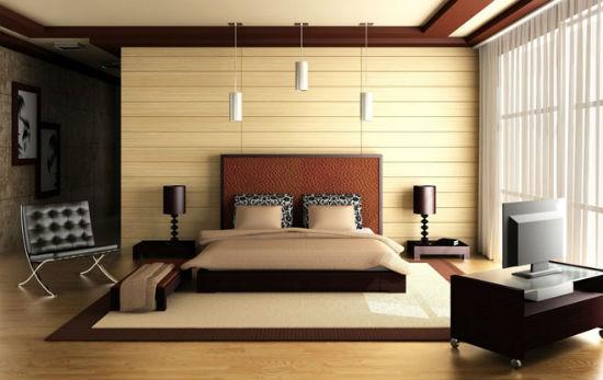 Теплые шоколадные оттенки в интерьере коричневой спальни