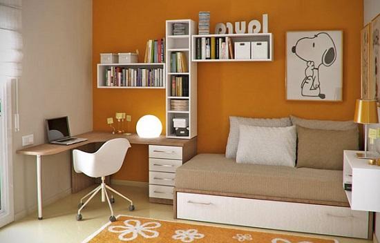 Установка углового рабочего стола в спальне кабинете