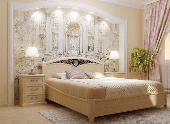 Дизайн классической спальни с фреской на стене