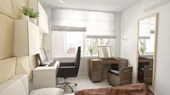 Функциональная мебель для организации рабочего пространства для двоих в спальне кабинете
