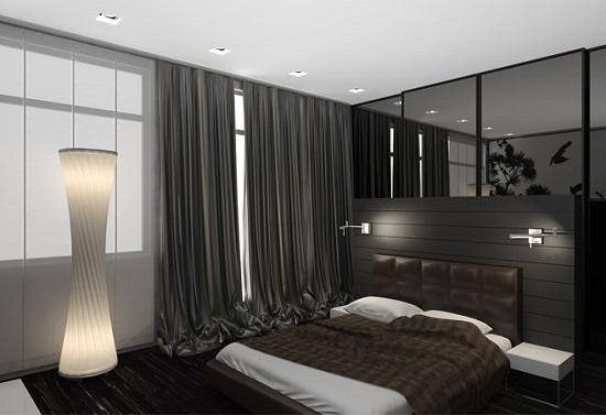 Интерьер черно-белой спальни в стиле хай тек